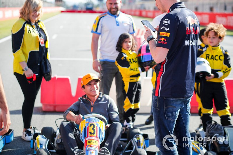 Lando Norris, McLaren and Max Verstappen, Red Bull Racing at the RACC Kids karting event