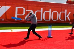 Simon Lazenby, Sky TV plays cricket in the paddock