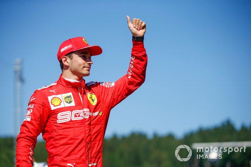 Pole sitter Charles Leclerc, Ferrari, festeggia