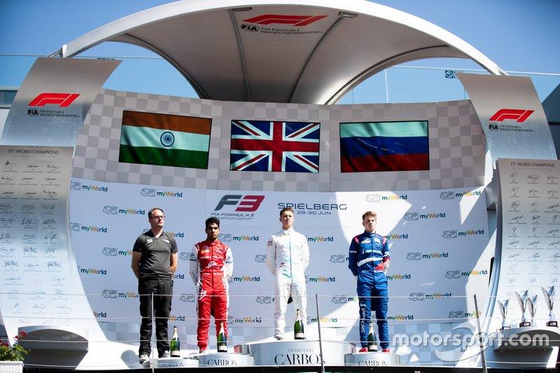 Jake Hughes, HWA RACELAB Jehan Daruvala, PREMA Racing et Robert Shwartzman, PREMA Racing
