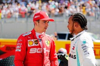 Charles Leclerc, Ferrari, and Lewis Hamilton, Mercedes AMG F1