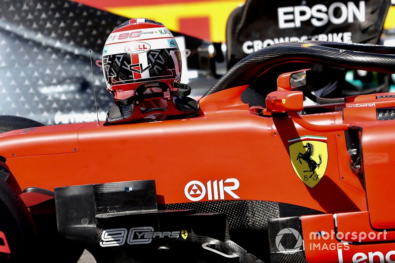The helmet and car of Charles Leclerc, Ferrari SF90, after Qualifying