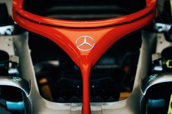 The halo safety device on the Mercedes AMG F1 W10 is painted red in honour of Niki Lauda