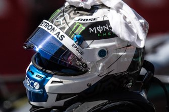 The helmet of pole man Valtteri Bottas, Mercedes AMG F1