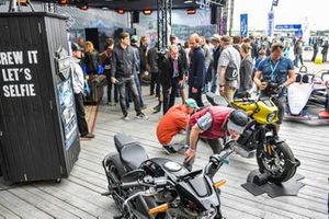 Fans at the Harley-Davidson stand