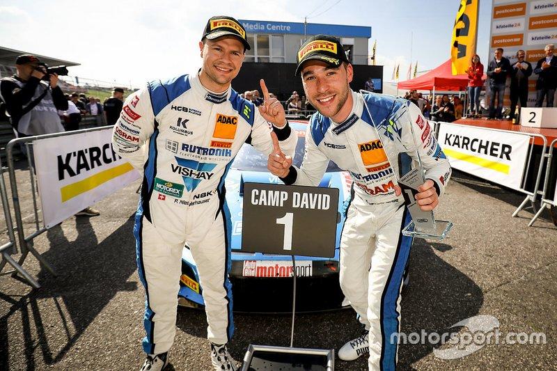 The winners, Patrick Niederhauser, Kelvin van der Linde, Audi R8 LMS GT3, HCB Rutronik Racing