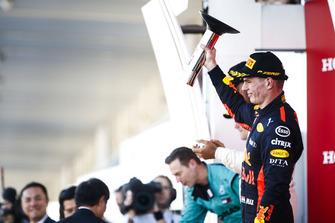 Derde Max Verstappen, Red Bull Racing, op het podium