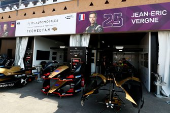 The Techeetah garage in the pits