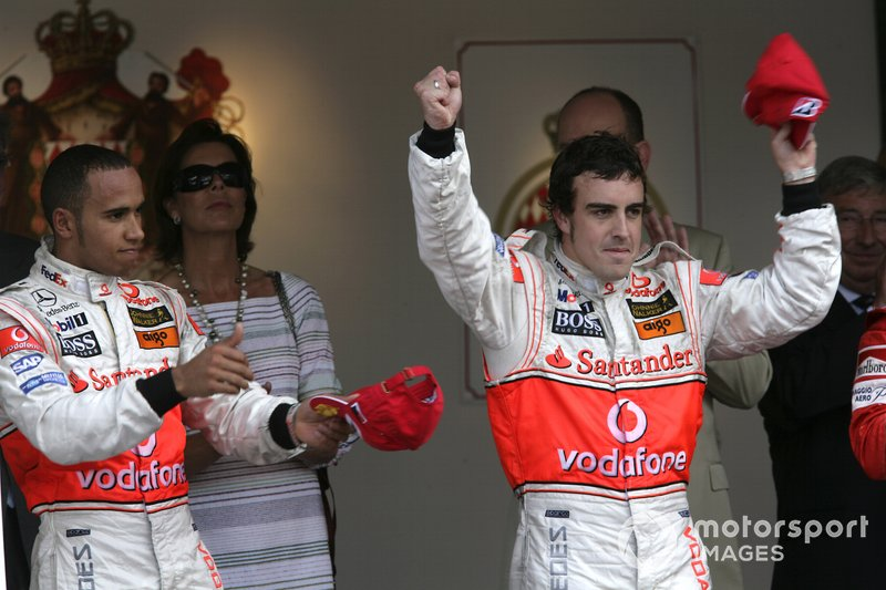 Podium: race winner Fernando Alonso, McLaren, second place Lewis Hamilton, McLaren