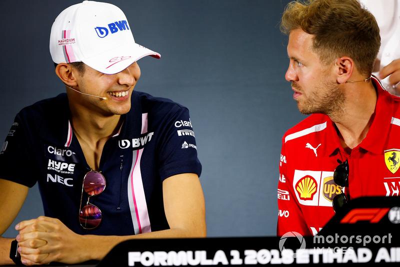 Esteban Ocon, Racing Point Force India, an Sebastian Vettel, Ferrari, in the press conference