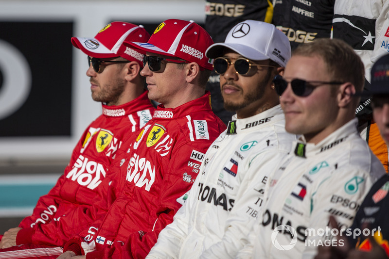 Sebastian Vettel, Ferrari, Kimi Raikkonen, Ferrari, Lewis Hamilton, Mercedes AMG F1 and Valtteri Bottas, Mercedes AMG F1 at the driver group photo