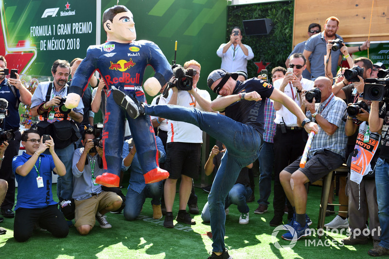 Max Verstappen, Red Bull Racing kicks his Mexican Pinata Paper Mache figure