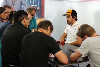 Fernando Alonso, McLaren. is interviewed