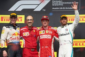 Max Verstappen, Red Bull Racing, 2nd position, Carlos Santi, Race Engineer, Ferrari, Kimi Raikkonen, Ferrari, 1st position, and Lewis Hamilton, Mercedes AMG F1, 3rd position, on the podium