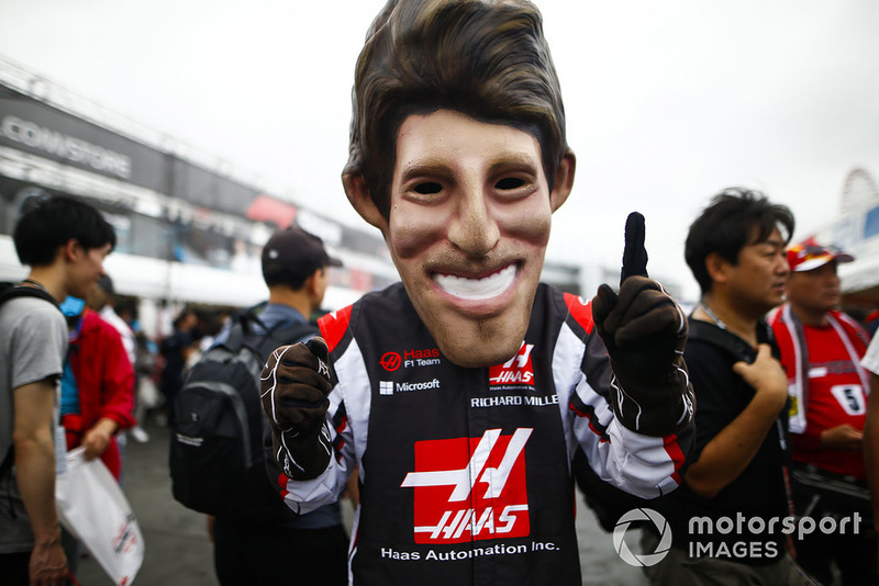 Une caricature de Romain Grosjean, Haas F1 Team