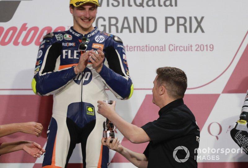 Podio: il vincitore della gara Lorenzo Baldassarri, Pons HP40