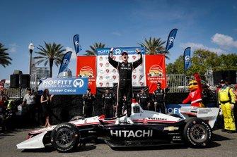 Josef Newgarden, Team Penske Chevrolet, celebrates, podium, winner