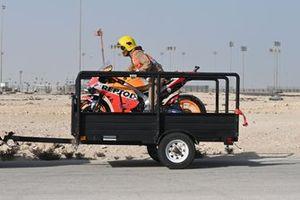 La moto endommagée de Jorge Lorenzo, Repsol Honda Team