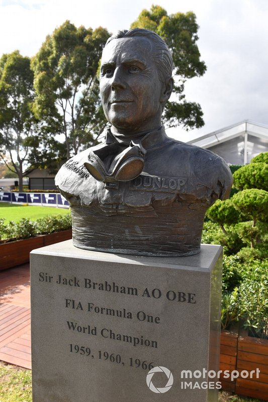 A bust of Australian Formula 1 World Champion Sir Jack Brabham