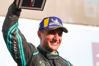 Mitch Evans, Panasonic Jaguar Racing, 1st position, celebrates his maiden victory on the podium