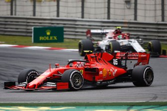 Charles Leclerc, Ferrari SF90, leads Antonio Giovinazzi, Alfa Romeo Racing C38