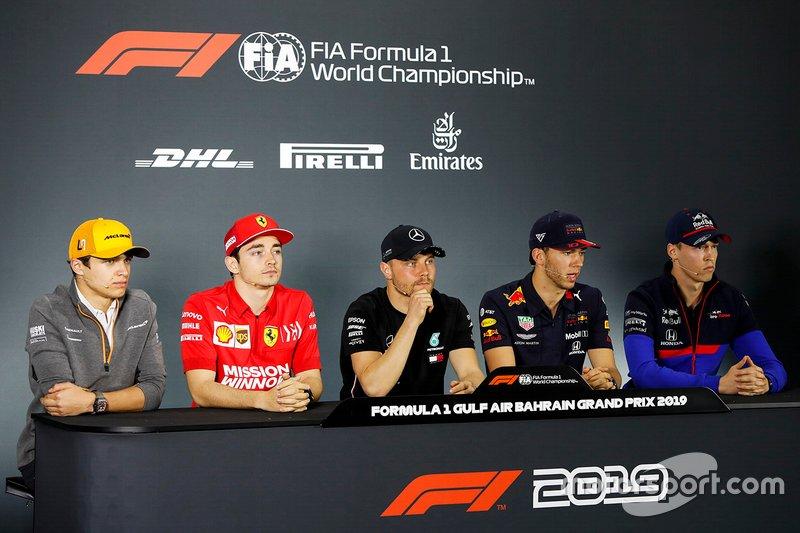 Lando Norris, McLaren, Charles Leclerc, Ferrari, Valtteri Bottas, Mercedes AMG F1, Pierre Gasly, Red Bull Racing and Daniil Kvyat, Toro Rosso en la conferencia de prensa