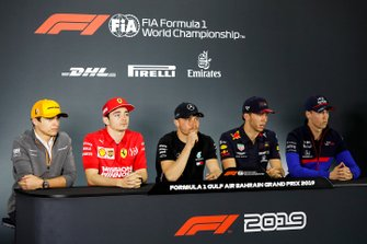 Lando Norris, McLaren, Charles Leclerc, Ferrari, Valtteri Bottas, Mercedes AMG F1, Pierre Gasly, Red Bull Racing et Daniil Kvyat, Toro Rosso, en conférence de presse