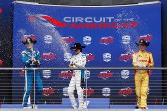 Josef Newgarden, Team Penske Chevrolet, Colton Herta, Harding Steinbrenner Racing Honda, Ryan Hunter-Reay, Andretti Autosport Honda, podium, champagne