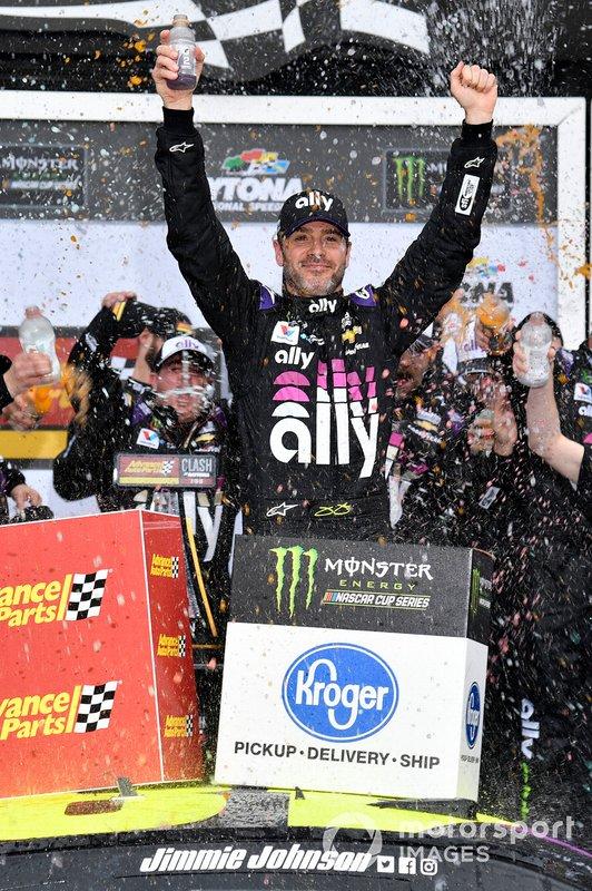 Jimmie Johnson, Hendrick Motorsports, Chevrolet Camaro Ally wins the Advanced Auto Parts Clash