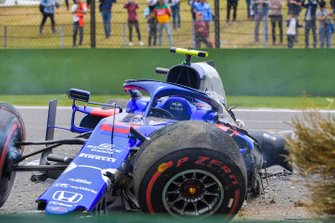 The damaged car of Alexander Albon, Toro Rosso STR14, after his crash
