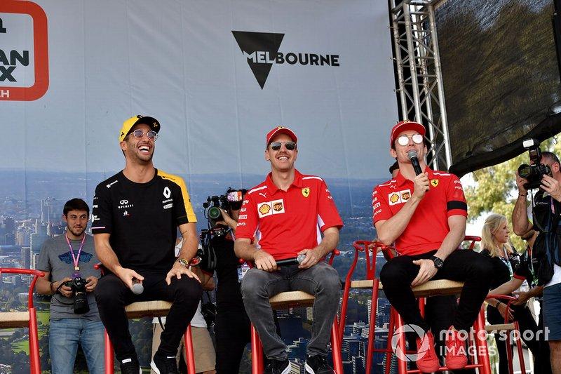 Daniel Ricciardo, Renault, Sebastian Vettel, Ferrari, Charles Leclerc, Ferrari