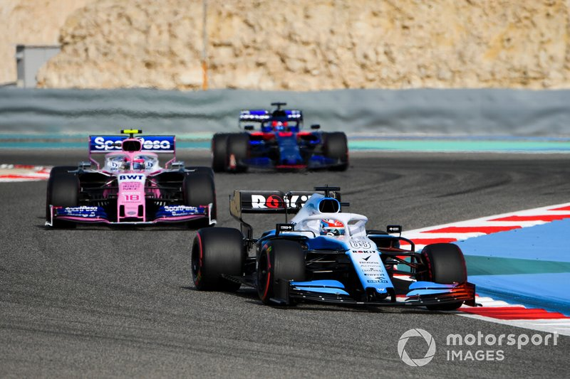 George Russell, Williams Racing FW42 leads Lance Stroll, Racing Point RP19 and Daniil Kvyat, Toro Rosso STR14