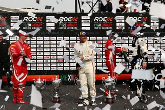 Tom Kristensen, Johan Kristoffersson celebrate winning with runners up Sebastian Vettel and Mick Schumacher on the podium