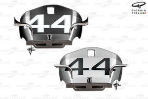 Mercedes F1 W11 fins comparison