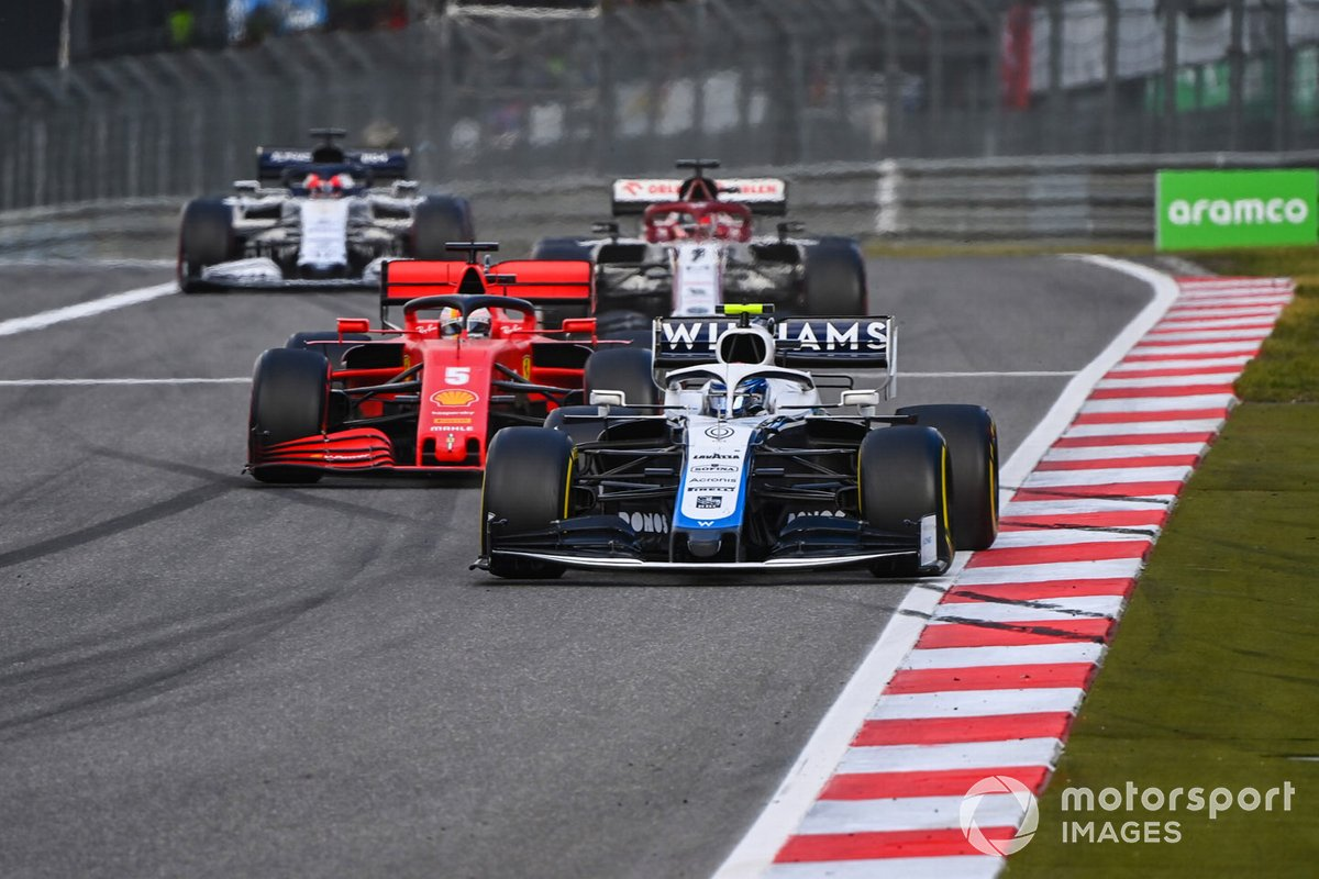 Nicholas Latifi, Williams FW43, Sebastian Vettel, Ferrari SF1000, Kimi Raikkonen, Alfa Romeo Racing C39, Daniil Kvyat, AlphaTauri AT01