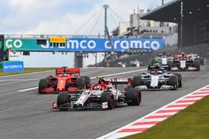 Antonio Giovinazzi, Alfa Romeo Racing C39, Sebastian Vettel, Ferrari SF1000, Pierre Gasly, AlphaTauri AT01, and Kevin Magnussen, Haas VF-20
