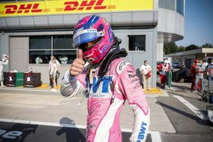 Lance Stroll, Racing Point celebrates in Parc Ferme