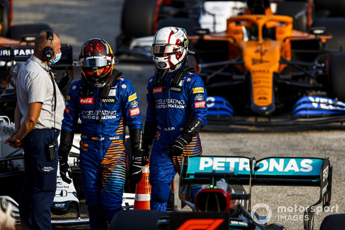 Carlos Sainz Jr., McLaren y Lando Norris, McLaren en Parc Ferme