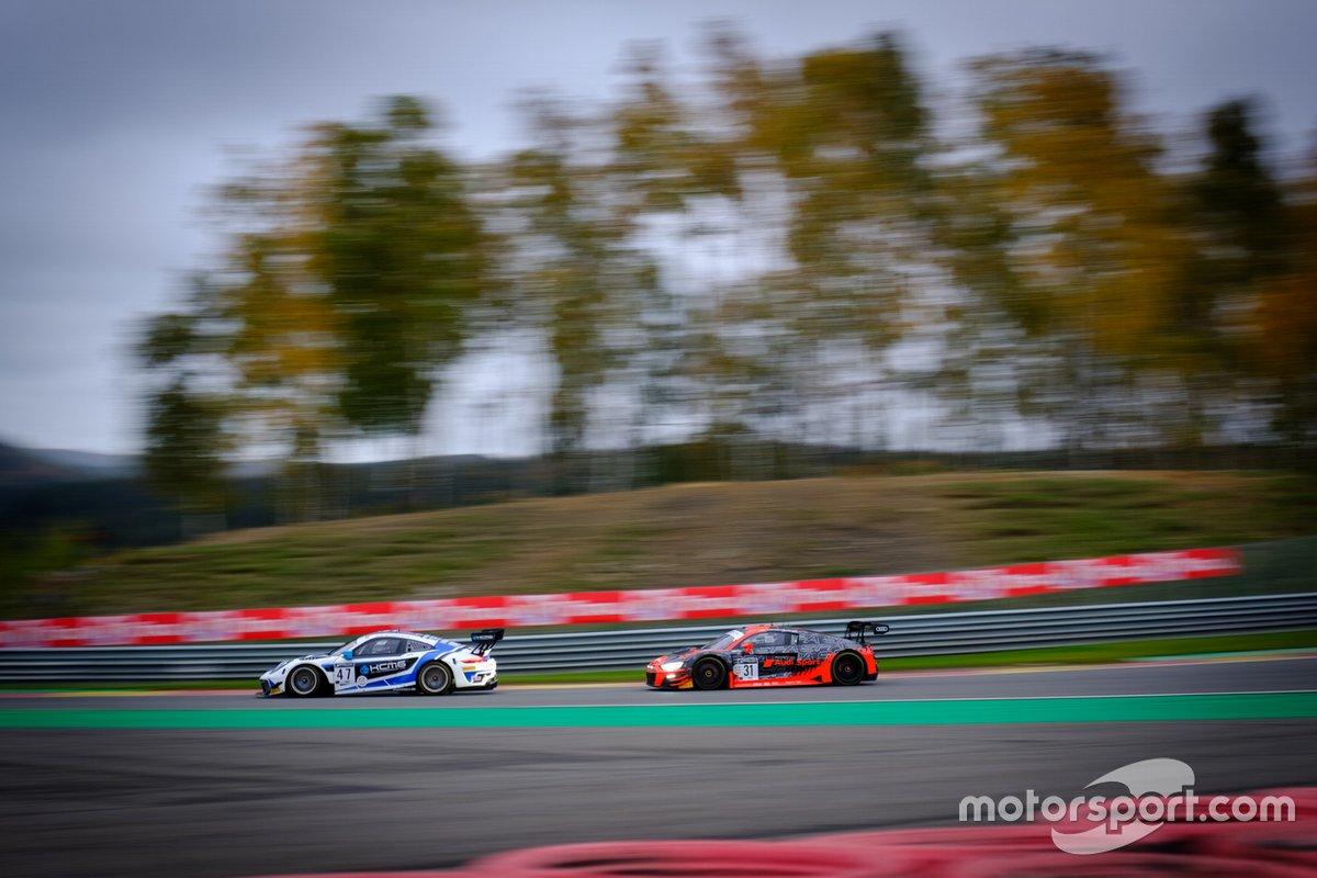 #47 KCMG Porsche 911 GT3-R: Michael Christensen, Richard Lietz, Kevin Estre, #31 Audi Sport Team WRT Audi R8 LMS GT3: Christopher Mies, Kelvin van der Linde, Dries Vanthoor