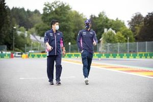 Lance Stroll, Racing Point walks the trackwith his engineer