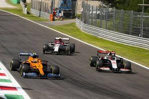 Lando Norris, McLaren MCL35, Antonio Giovinazzi, Alfa Romeo Racing C39 and Kevin Magnussen, Haas VF-20