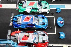 Robin Frijns, Audi Sport Team Abt Sportsline, Audi RS5 DTM, Loic Duval, Audi Sport Team Phoenix, Audi RS 5 DTM, Nico Müller, Audi Sport Team Abt Sportsline, Audi RS 5 DTM en parc ferme