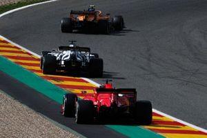 Lando Norris, McLaren MCL35, Daniil Kvyat, AlphaTauri AT01, and Sebastian Vettel, Ferrari SF1000