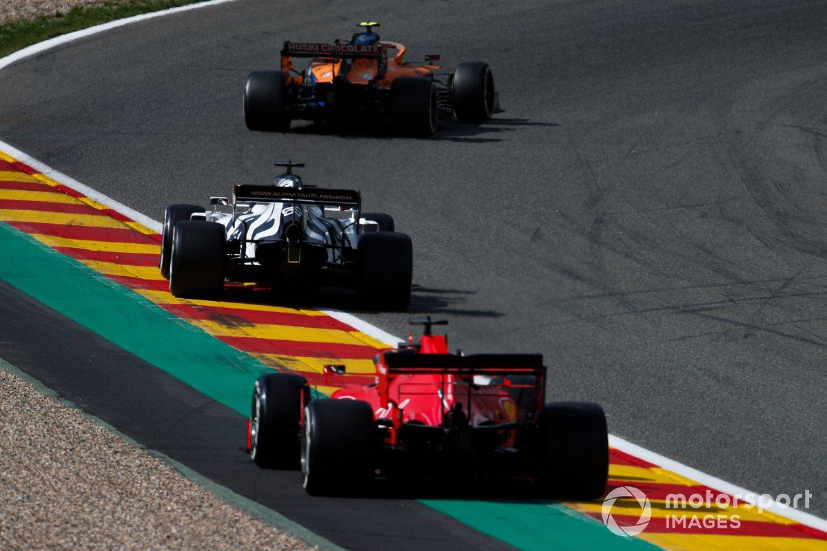 Lando Norris, McLaren MCL35, Daniil Kvyat, AlphaTauri AT01, Sebastian Vettel, Ferrari SF1000