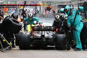 Lewis Hamilton, Mercedes W12, makes a stop