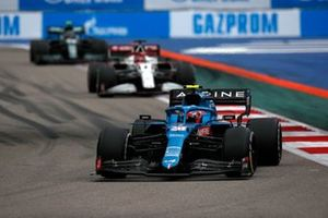 Esteban Ocon, Alpine A521, Kimi Raikkonen, Alfa Romeo Racing C41