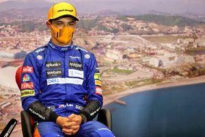 Le poleman Lando Norris, McLaren, en conférence de presse d'après Qualifications