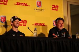 Romain Grosjean and Michael Andretti during 2022 driver announcement