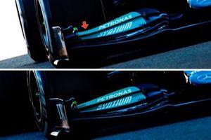 Mercedes W12 front wing comparison