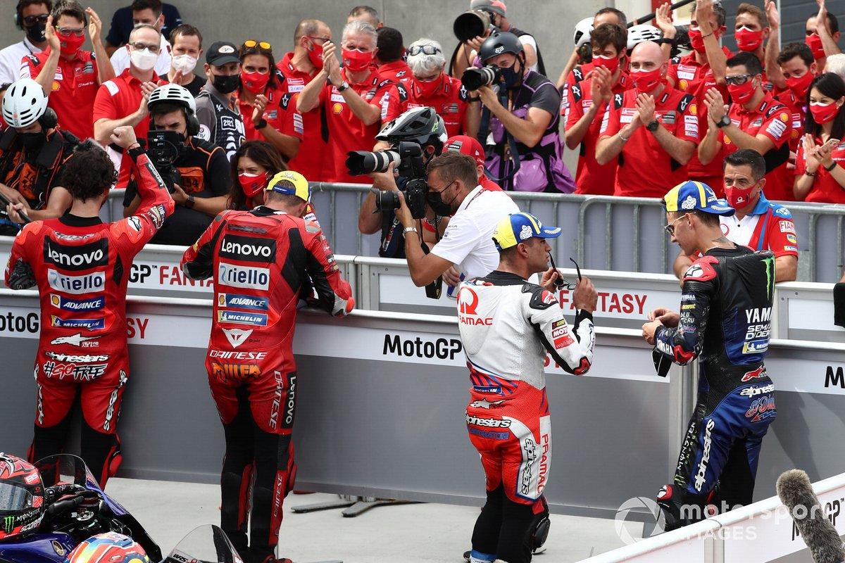 Ganador de la pole Francesco Bagnaia Ducati Team, segundo Jack Miller, Ducati Team. tercero Fabio Quartararo, Yamaha Factory Racing, y Jorge Martín, Pramac Racing